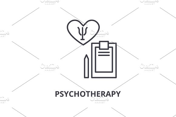 Psychotherapy Thin Line Icon Sign Symbol Illustation Linear Concept Vector