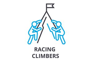 racing climbers thin line icon, sign, symbol, illustation, linear concept, vector