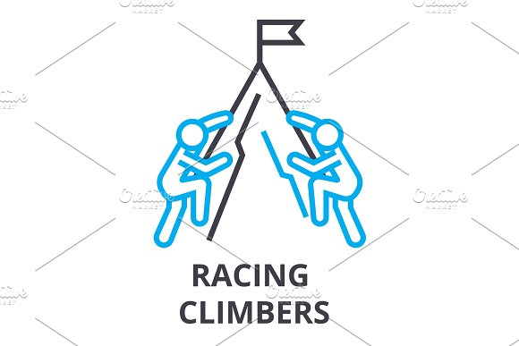 Racing Climbers Thin Line Icon Sign Symbol Illustation Linear Concept Vector