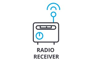 radio receiver thin line icon, sign, symbol, illustation, linear concept, vector