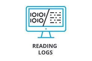 reading logs thin line icon, sign, symbol, illustation, linear concept, vector