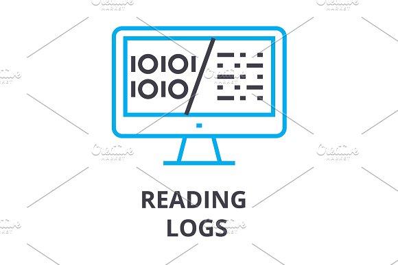 Reading Logs Thin Line Icon Sign Symbol Illustation Linear Concept Vector