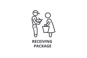 receiving package thin line icon, sign, symbol, illustation, linear concept, vector