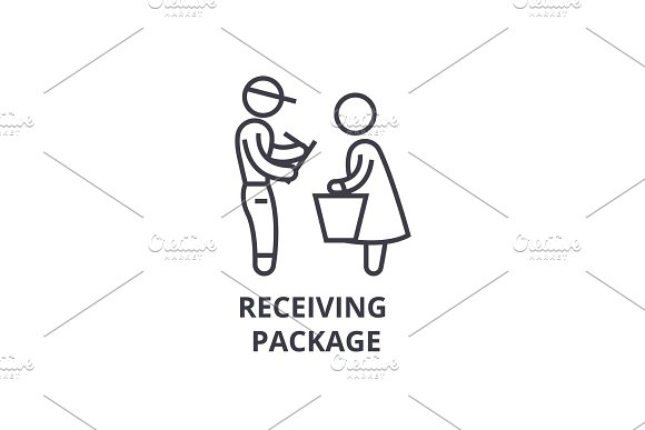 Receiving Package Thin Line Icon Sign Symbol Illustation Linear Concept Vector
