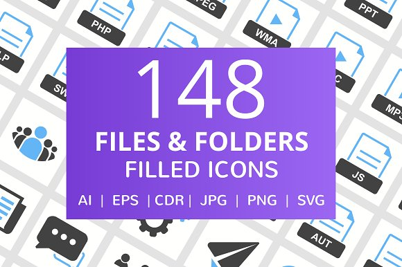 148 Files Folders Filled Icons