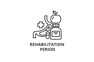 rehabilitation period thin line icon, sign, symbol, illustation, linear concept, vector