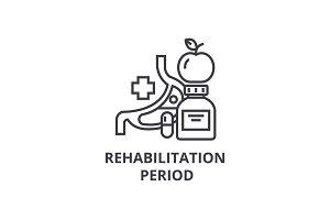 rehabilitation period thin line icon, sign, symbol, illustation, linear concept, vector