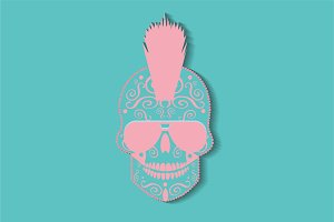 Punk skull icon background pastel