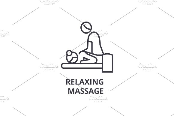 Relaxing Massage Thin Line Icon Sign Symbol Illustation Linear Concept Vector
