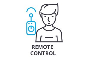 remote control thin line icon, sign, symbol, illustation, linear concept, vector