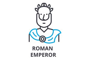 roman emperor thin line icon, sign, symbol, illustation, linear concept, vector