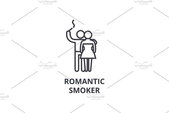 Romantic Smoker Thin Line Icon Sign Symbol Illustation Linear Concept Vector