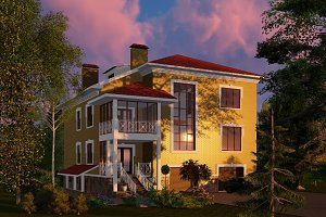 3D visualization. The house at dusk.