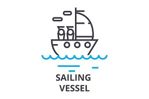 sailing vessel thin line icon, sign, symbol, illustation, linear concept, vector