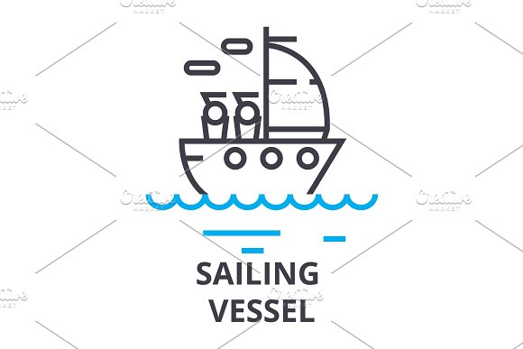 Sailing Vessel Thin Line Icon Sign Symbol Illustation Linear Concept Vector