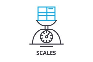 scales thin line icon, sign, symbol, illustation, linear concept, vector