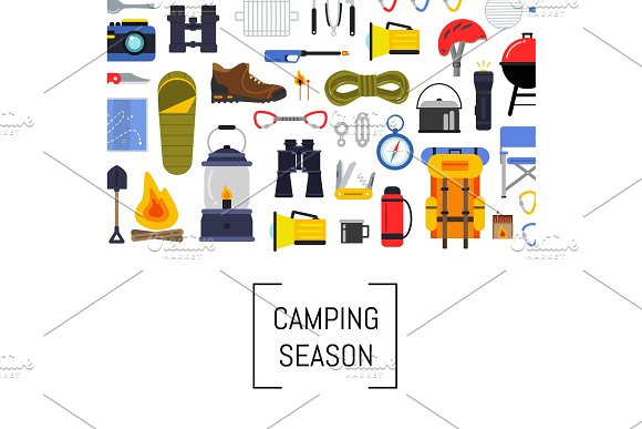 Vector Flat Style Camping Elements Background Illustration