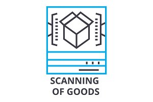 scanning of goods thin line icon, sign, symbol, illustation, linear concept, vector