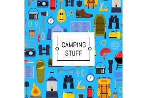 Vector flat style camping background illustration