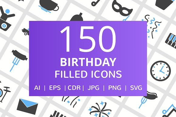 150 Birthday Filled Icons