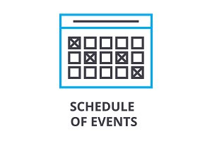 schedule of events thin line icon, sign, symbol, illustation, linear concept, vector