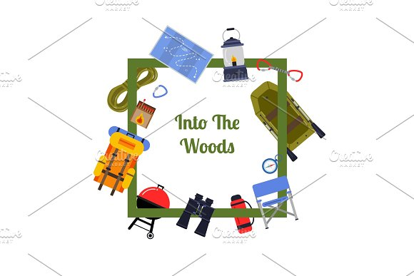 Vector Flat Style Camping Illustration