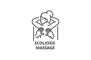 scoliosis massage thin line icon, sign, symbol, illustation, linear concept, vector