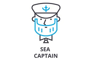 sea captain thin line icon, sign, symbol, illustation, linear concept, vector