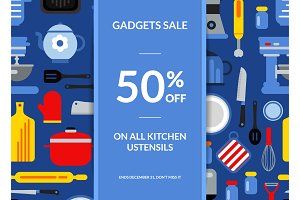 Vector flat style kitchen utensils sale background illustration