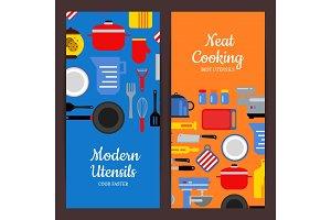 Vector flat style kitchen utensils flyer templates
