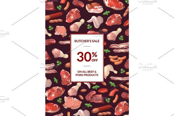 Vector Cartoon Meat Elements Sale Poster