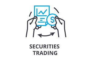 securities trading thin line icon, sign, symbol, illustation, linear concept, vector