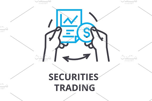 Securities Trading Thin Line Icon Sign Symbol Illustation Linear Concept Vector