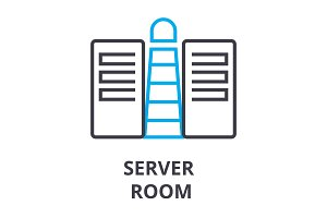 server room thin line icon, sign, symbol, illustation, linear concept, vector