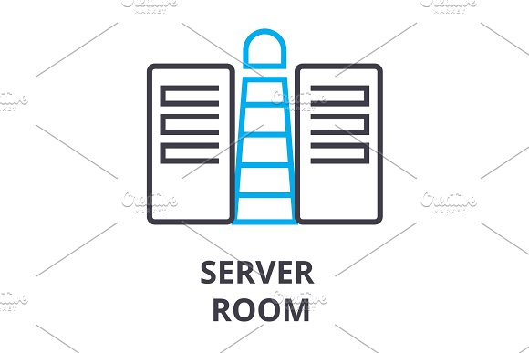 Server Room Thin Line Icon Sign Symbol Illustation Linear Concept Vector