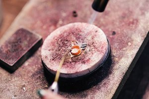 Burning details of jewelry