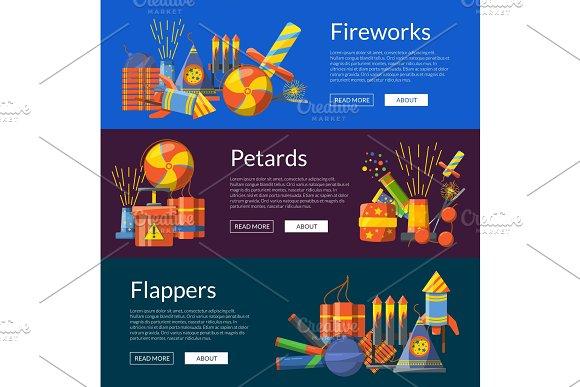 Vector Cartoon Pyrotechnics Banners Illustration