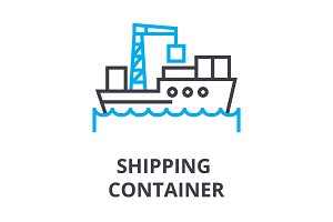 shipping container thin line icon, sign, symbol, illustation, linear concept, vector