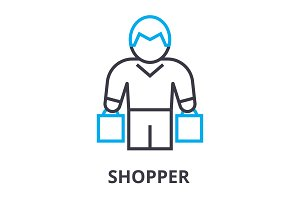 shopper thin line icon, sign, symbol, illustation, linear concept, vector