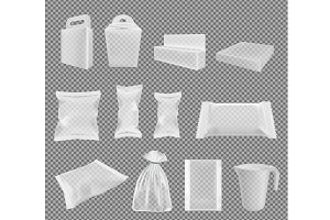 Transparent packaging.Big vector set