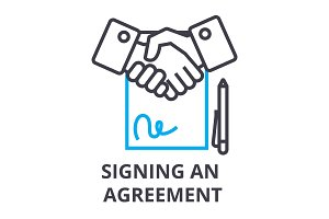 signing an agreement thin line icon, sign, symbol, illustation, linear concept, vector