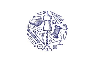 Vector hand drawn sewing elements illustration
