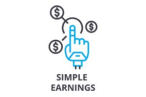 simple earnings thin line icon, sign, symbol, illustation, linear concept, vector