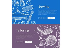 Vector hand drawn sewing elements banners illustration