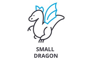 small dragon thin line icon, sign, symbol, illustation, linear concept, vector