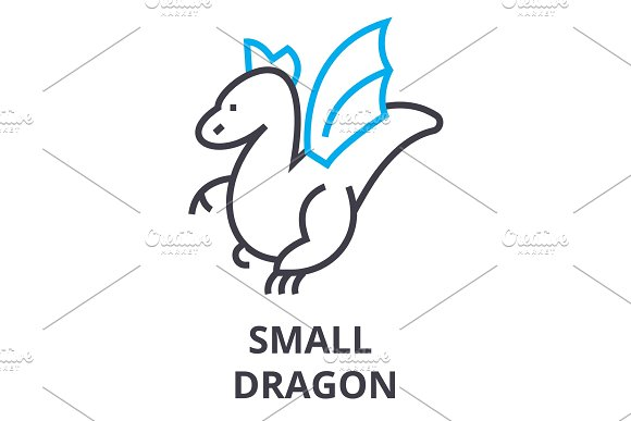 Small Dragon Thin Line Icon Sign Symbol Illustation Linear Concept Vector