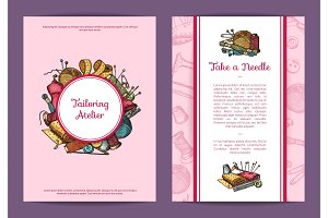 Vector hand drawn sewing card, flyer or brochure template