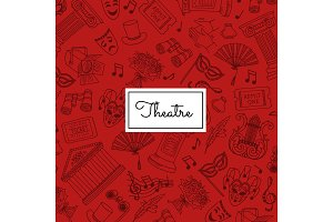 Vector doodle theatre elements background illustration