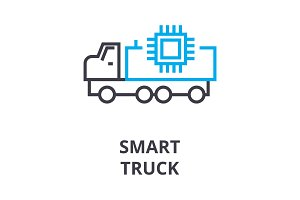 smart truck thin line icon, sign, symbol, illustation, linear concept, vector