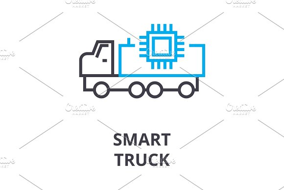 Smart Truck Thin Line Icon Sign Symbol Illustation Linear Concept Vector